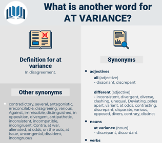 at variance, synonym at variance, another word for at variance, words like at variance, thesaurus at variance