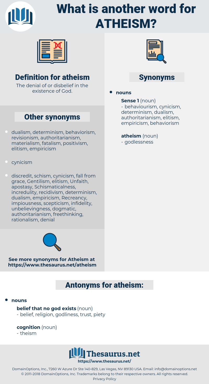 atheism, synonym atheism, another word for atheism, words like atheism, thesaurus atheism