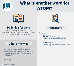 atom, synonym atom, another word for atom, words like atom, thesaurus atom