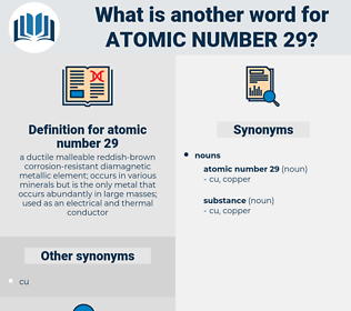 atomic number 29, synonym atomic number 29, another word for atomic number 29, words like atomic number 29, thesaurus atomic number 29