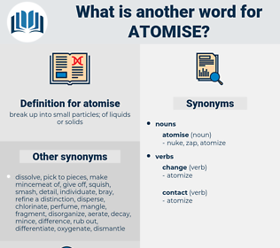 atomise, synonym atomise, another word for atomise, words like atomise, thesaurus atomise