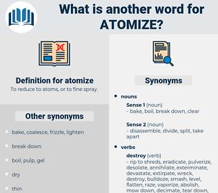 atomize, synonym atomize, another word for atomize, words like atomize, thesaurus atomize