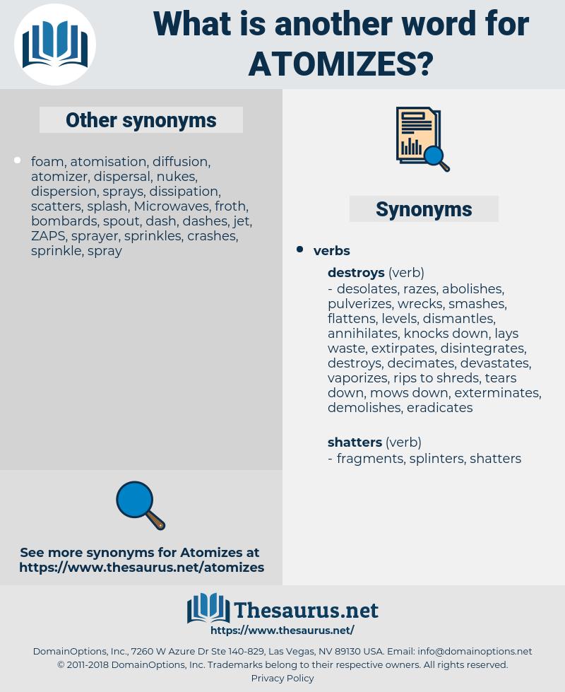 atomizes, synonym atomizes, another word for atomizes, words like atomizes, thesaurus atomizes