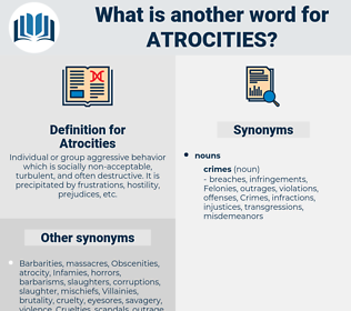 Atrocities, synonym Atrocities, another word for Atrocities, words like Atrocities, thesaurus Atrocities