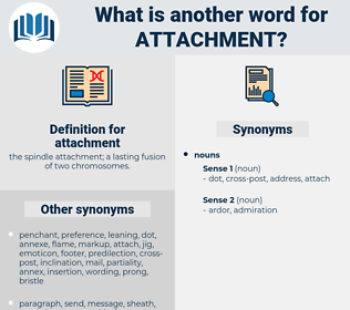 attachment, synonym attachment, another word for attachment, words like attachment, thesaurus attachment