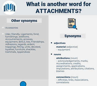 attachments, synonym attachments, another word for attachments, words like attachments, thesaurus attachments