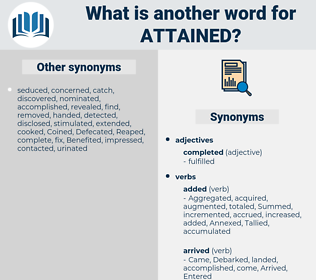 attained, synonym attained, another word for attained, words like attained, thesaurus attained