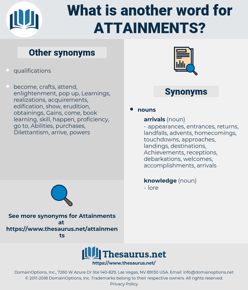 attainments, synonym attainments, another word for attainments, words like attainments, thesaurus attainments