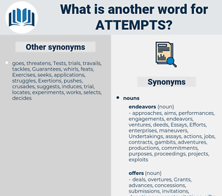 attempts, synonym attempts, another word for attempts, words like attempts, thesaurus attempts