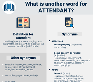 attendant, synonym attendant, another word for attendant, words like attendant, thesaurus attendant