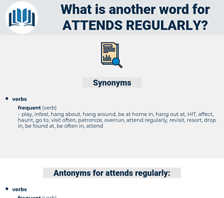 attends regularly, synonym attends regularly, another word for attends regularly, words like attends regularly, thesaurus attends regularly