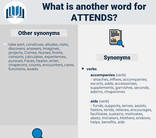 attends, synonym attends, another word for attends, words like attends, thesaurus attends
