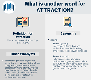 attraction, synonym attraction, another word for attraction, words like attraction, thesaurus attraction