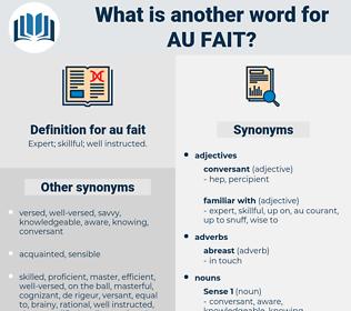 au fait, synonym au fait, another word for au fait, words like au fait, thesaurus au fait