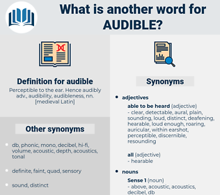 audible, synonym audible, another word for audible, words like audible, thesaurus audible