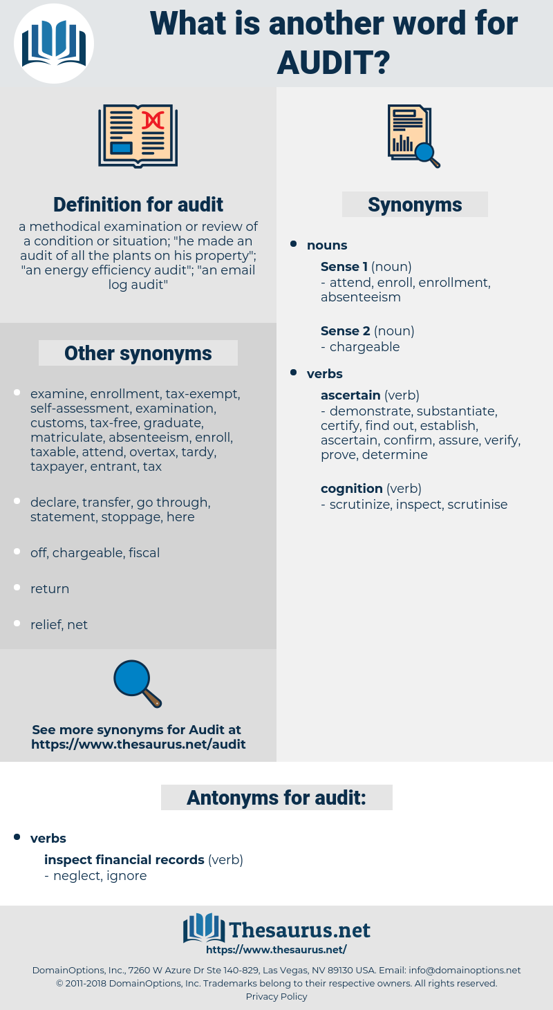 audit, synonym audit, another word for audit, words like audit, thesaurus audit