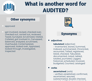 Audited, synonym Audited, another word for Audited, words like Audited, thesaurus Audited