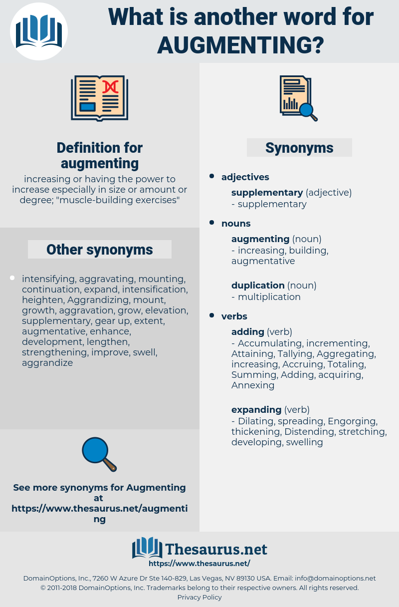 augmenting, synonym augmenting, another word for augmenting, words like augmenting, thesaurus augmenting