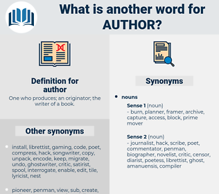 author, synonym author, another word for author, words like author, thesaurus author