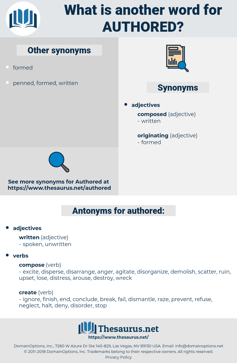 authored, synonym authored, another word for authored, words like authored, thesaurus authored