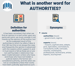 authorities, synonym authorities, another word for authorities, words like authorities, thesaurus authorities
