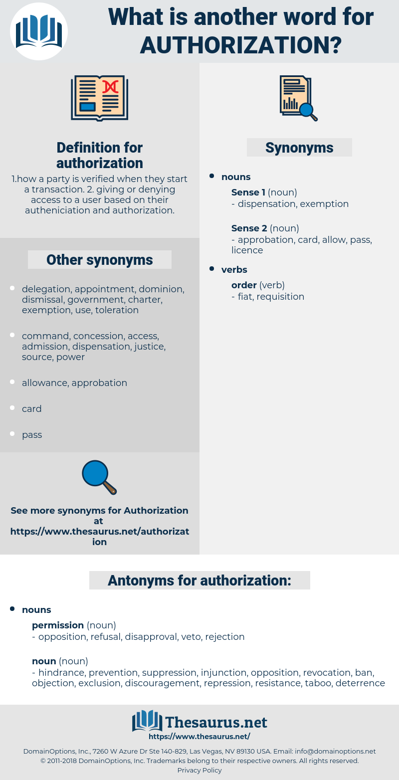 authorization, synonym authorization, another word for authorization, words like authorization, thesaurus authorization