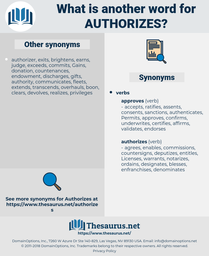 authorizes, synonym authorizes, another word for authorizes, words like authorizes, thesaurus authorizes