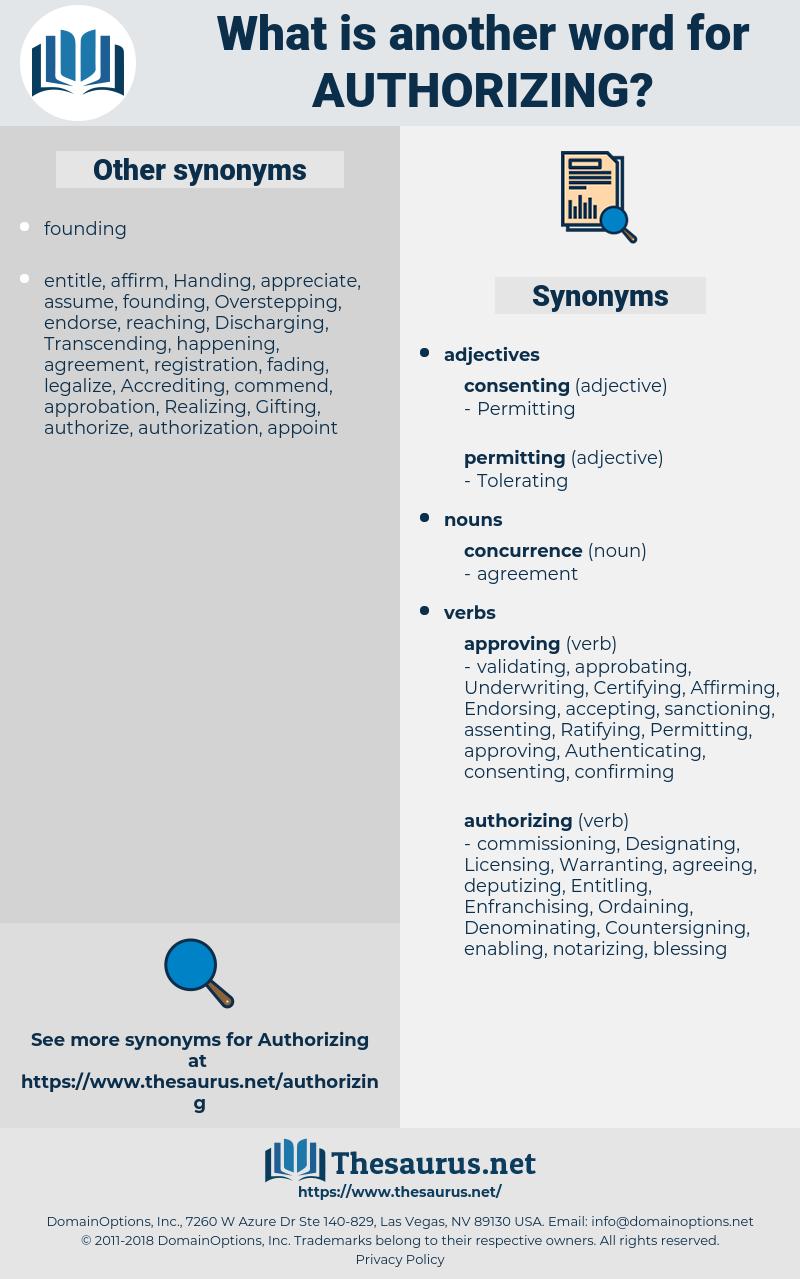 Authorizing, synonym Authorizing, another word for Authorizing, words like Authorizing, thesaurus Authorizing