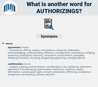 authorizings, synonym authorizings, another word for authorizings, words like authorizings, thesaurus authorizings