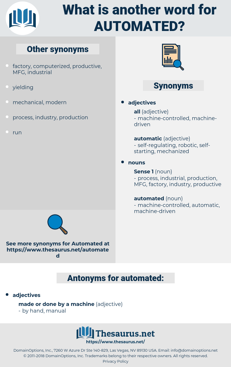 automated, synonym automated, another word for automated, words like automated, thesaurus automated