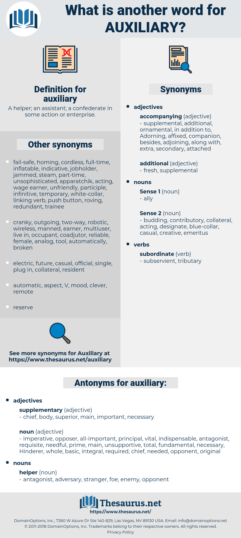 auxiliary, synonym auxiliary, another word for auxiliary, words like auxiliary, thesaurus auxiliary