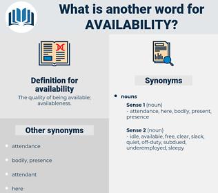 availability, synonym availability, another word for availability, words like availability, thesaurus availability