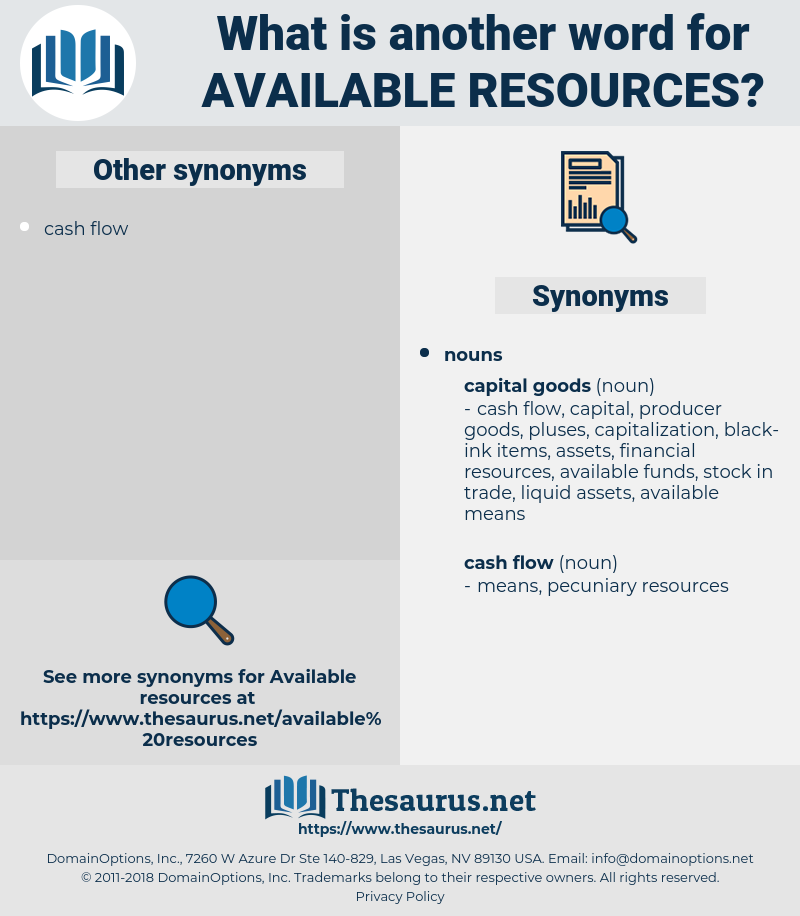 available resources, synonym available resources, another word for available resources, words like available resources, thesaurus available resources
