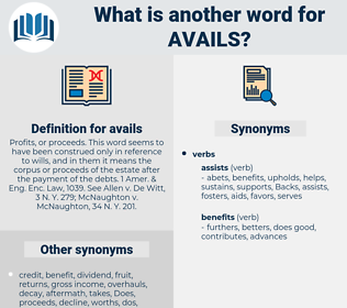 avails, synonym avails, another word for avails, words like avails, thesaurus avails