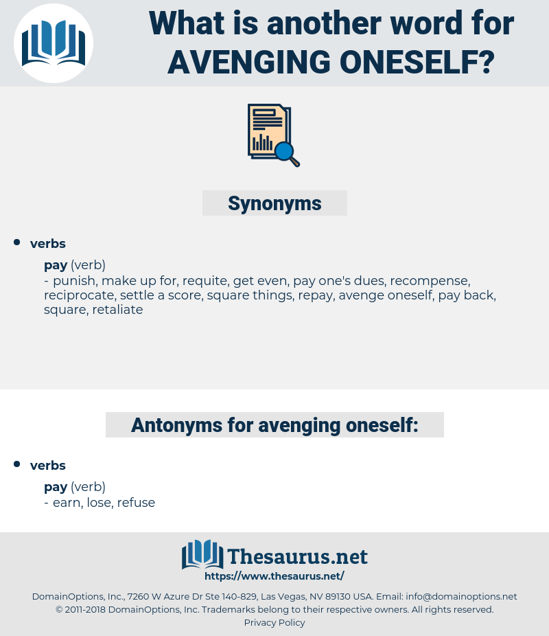 avenging oneself, synonym avenging oneself, another word for avenging oneself, words like avenging oneself, thesaurus avenging oneself