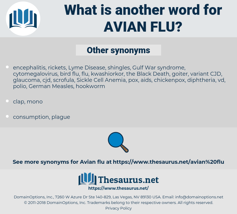avian flu, synonym avian flu, another word for avian flu, words like avian flu, thesaurus avian flu