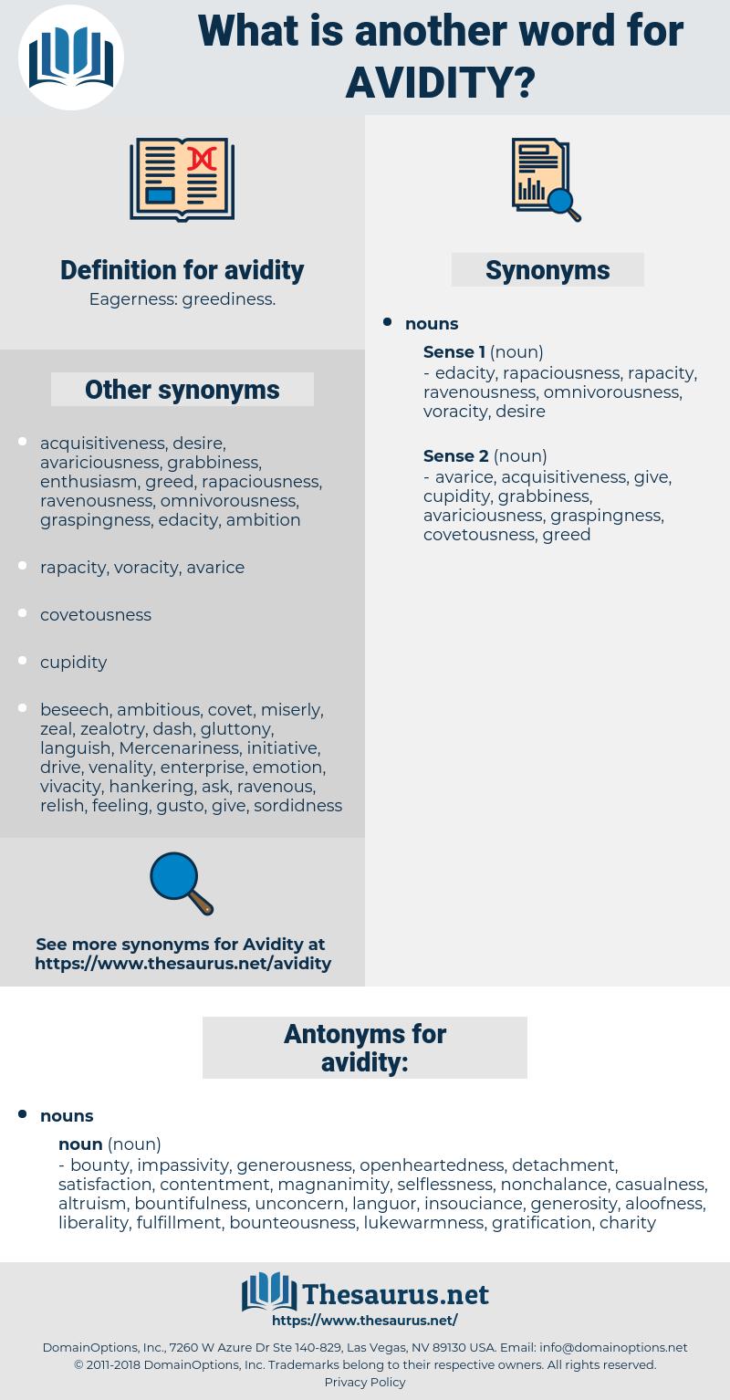 avidity, synonym avidity, another word for avidity, words like avidity, thesaurus avidity