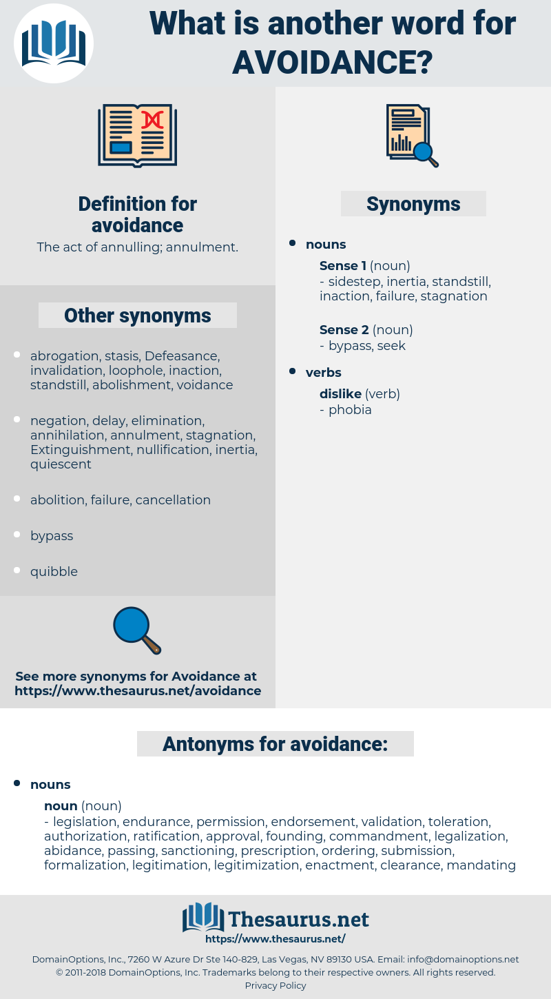 avoidance, synonym avoidance, another word for avoidance, words like avoidance, thesaurus avoidance
