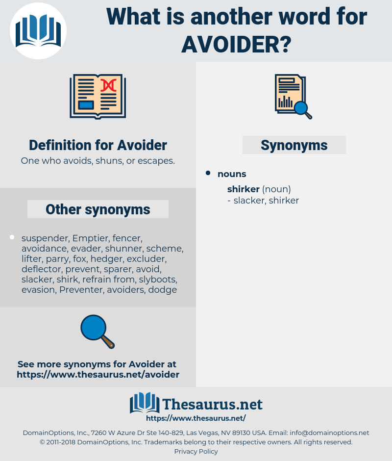 Avoider, synonym Avoider, another word for Avoider, words like Avoider, thesaurus Avoider
