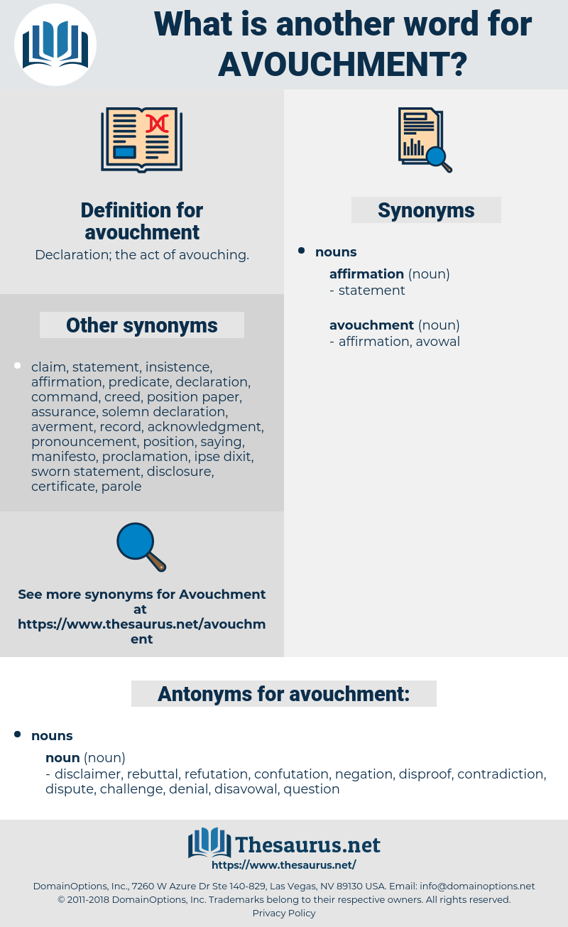 avouchment, synonym avouchment, another word for avouchment, words like avouchment, thesaurus avouchment