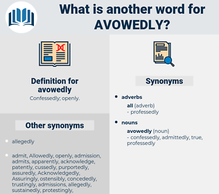 avowedly, synonym avowedly, another word for avowedly, words like avowedly, thesaurus avowedly
