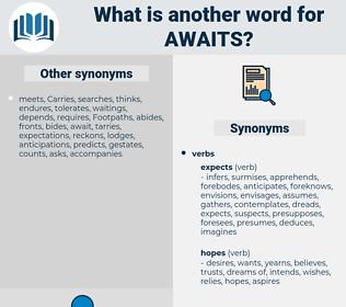 awaits, synonym awaits, another word for awaits, words like awaits, thesaurus awaits