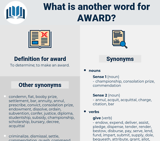award, synonym award, another word for award, words like award, thesaurus award