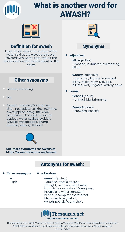 awash, synonym awash, another word for awash, words like awash, thesaurus awash