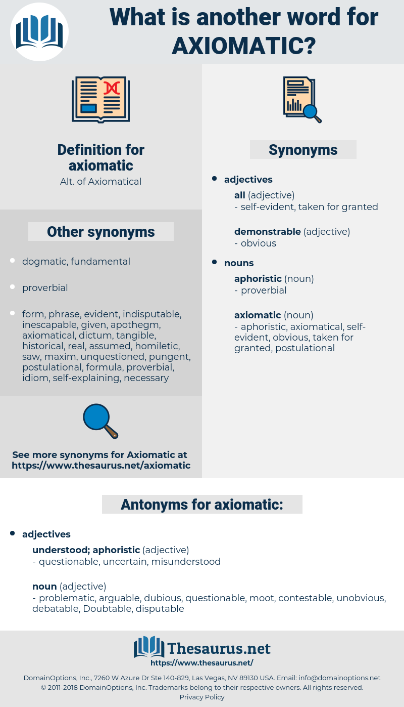 axiomatic, synonym axiomatic, another word for axiomatic, words like axiomatic, thesaurus axiomatic