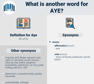Aye, synonym Aye, another word for Aye, words like Aye, thesaurus Aye