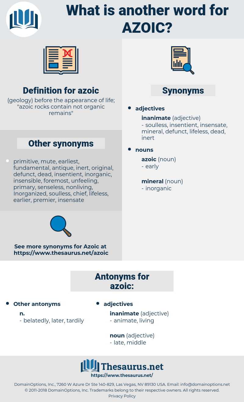 azoic, synonym azoic, another word for azoic, words like azoic, thesaurus azoic