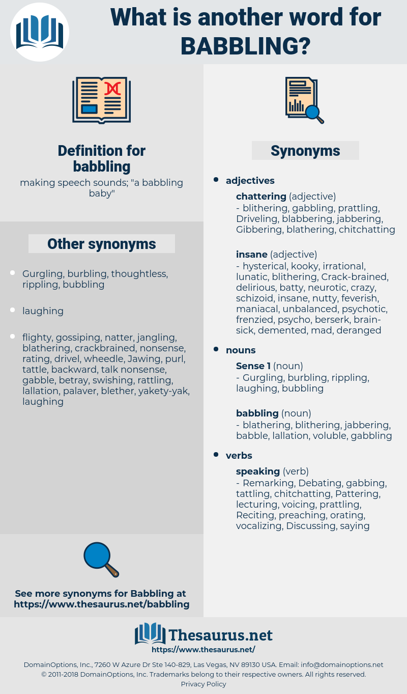 babbling, synonym babbling, another word for babbling, words like babbling, thesaurus babbling