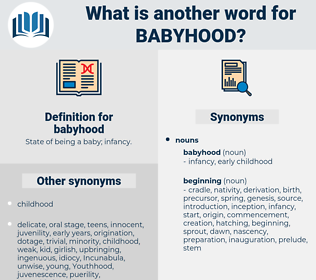 babyhood, synonym babyhood, another word for babyhood, words like babyhood, thesaurus babyhood