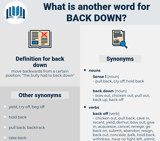 back down, synonym back down, another word for back down, words like back down, thesaurus back down
